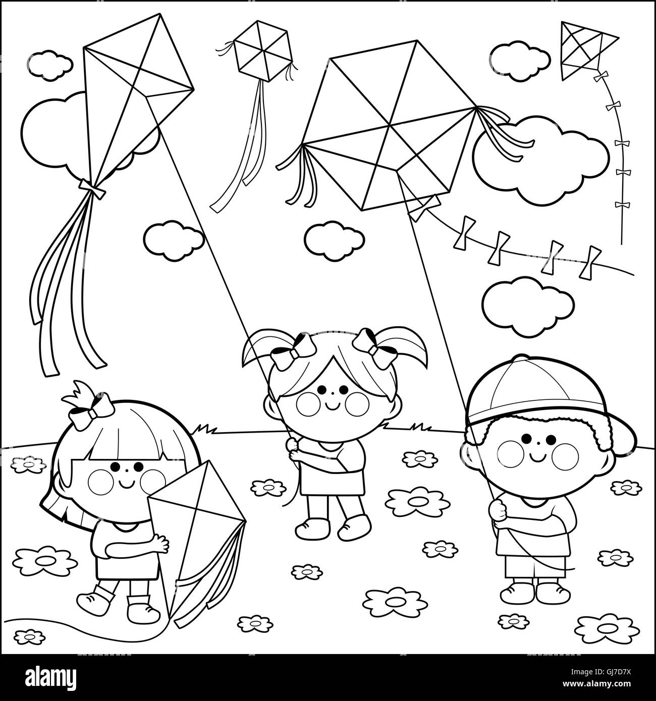 Kite Drawing Black And White Stock Photos Amp Images