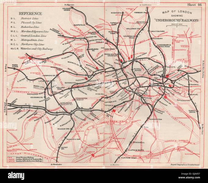 London Underground Map Tube Railways Stock Photos   London     LONDON UNDERGROUND MAP  Tube   railways  BACON  1933   Stock Image