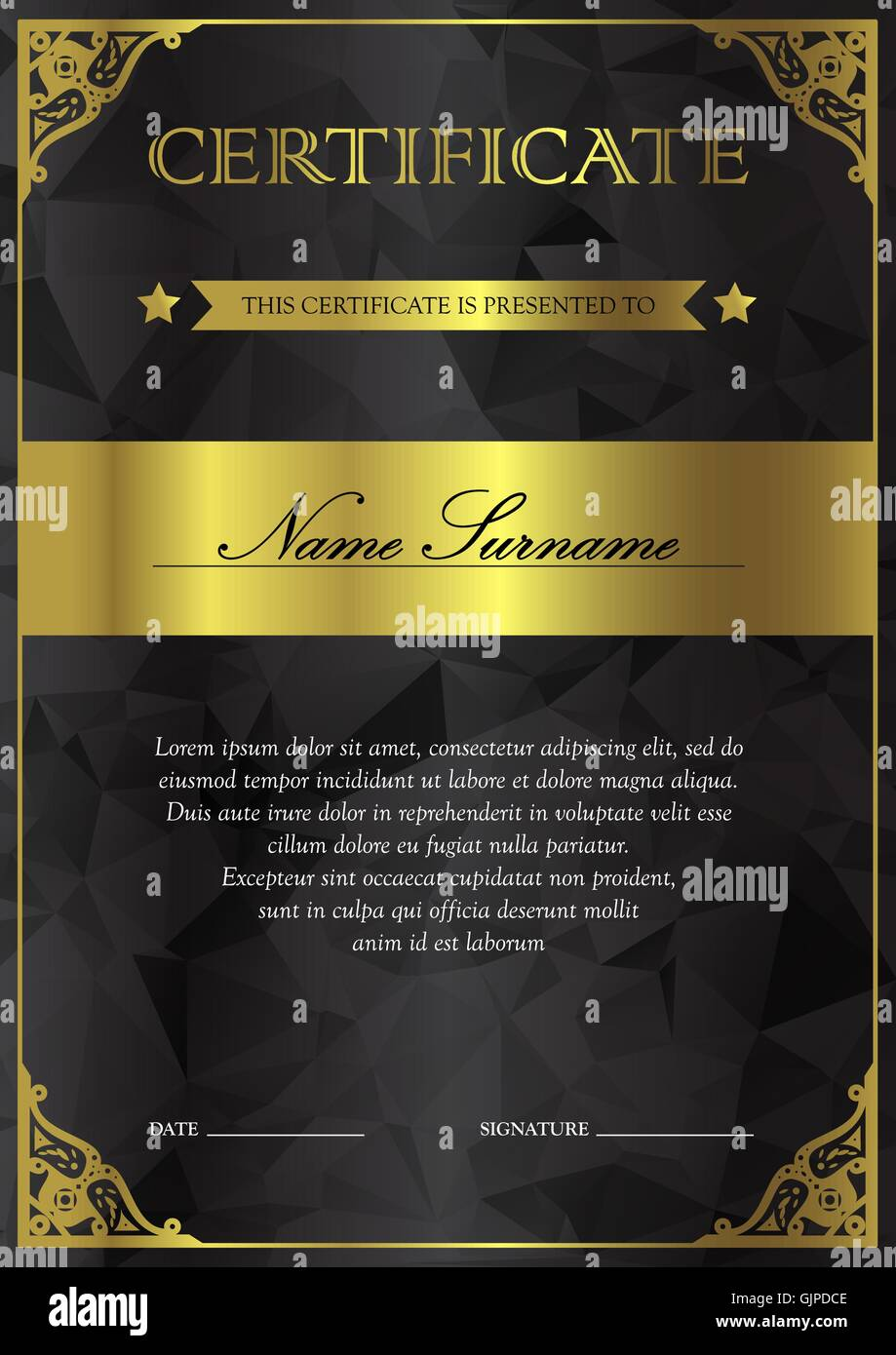 Vertical Black And Gold Certificate And Diploma Template With Stock Vector Art Amp Illustration
