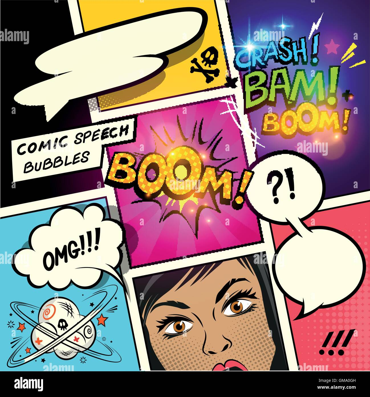Speech Bubbles On A Comic Strip Background With Cartoon