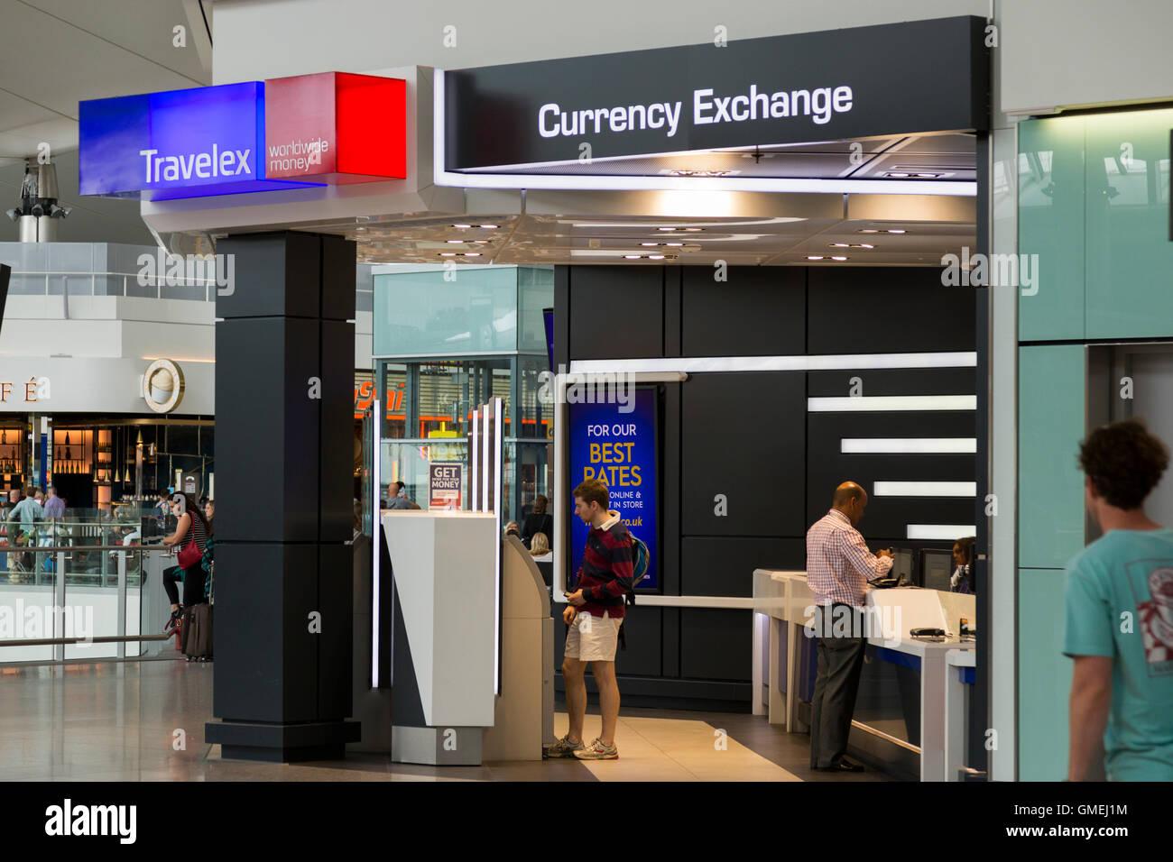 bureau de change office operated by travelex at heathrow airport terminal 2 london