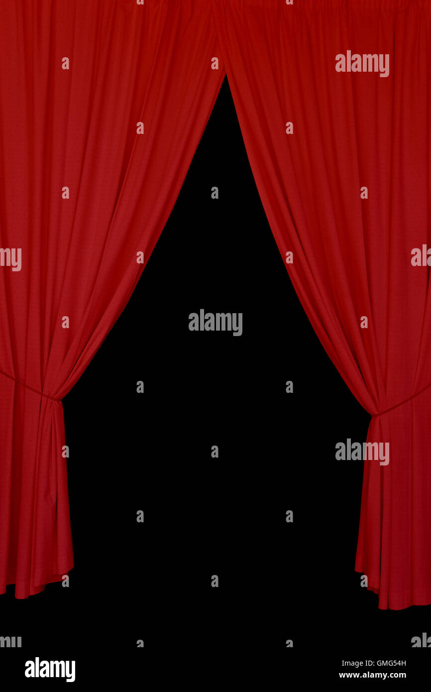 https www alamy com stock photo open red drapes tied with rope elegant stage curtains on black background 115910609 html