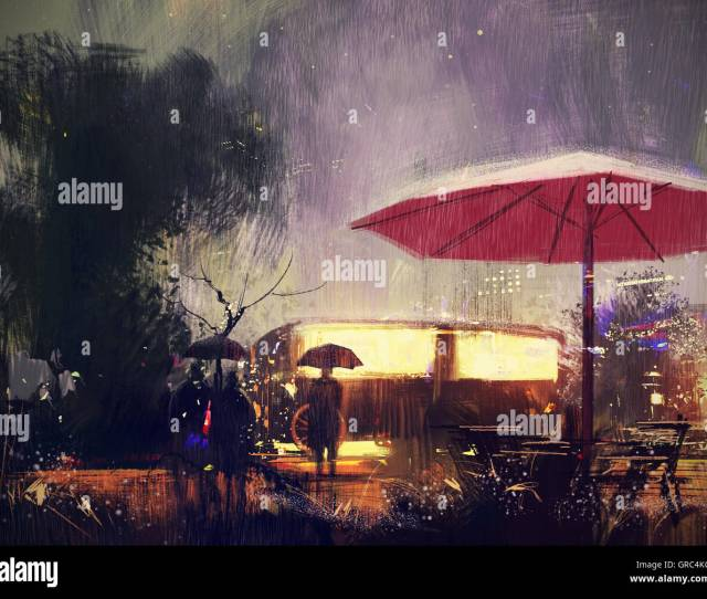 Outdoor Shop In The Park At Rainy Nightdigital Painting Stock Image