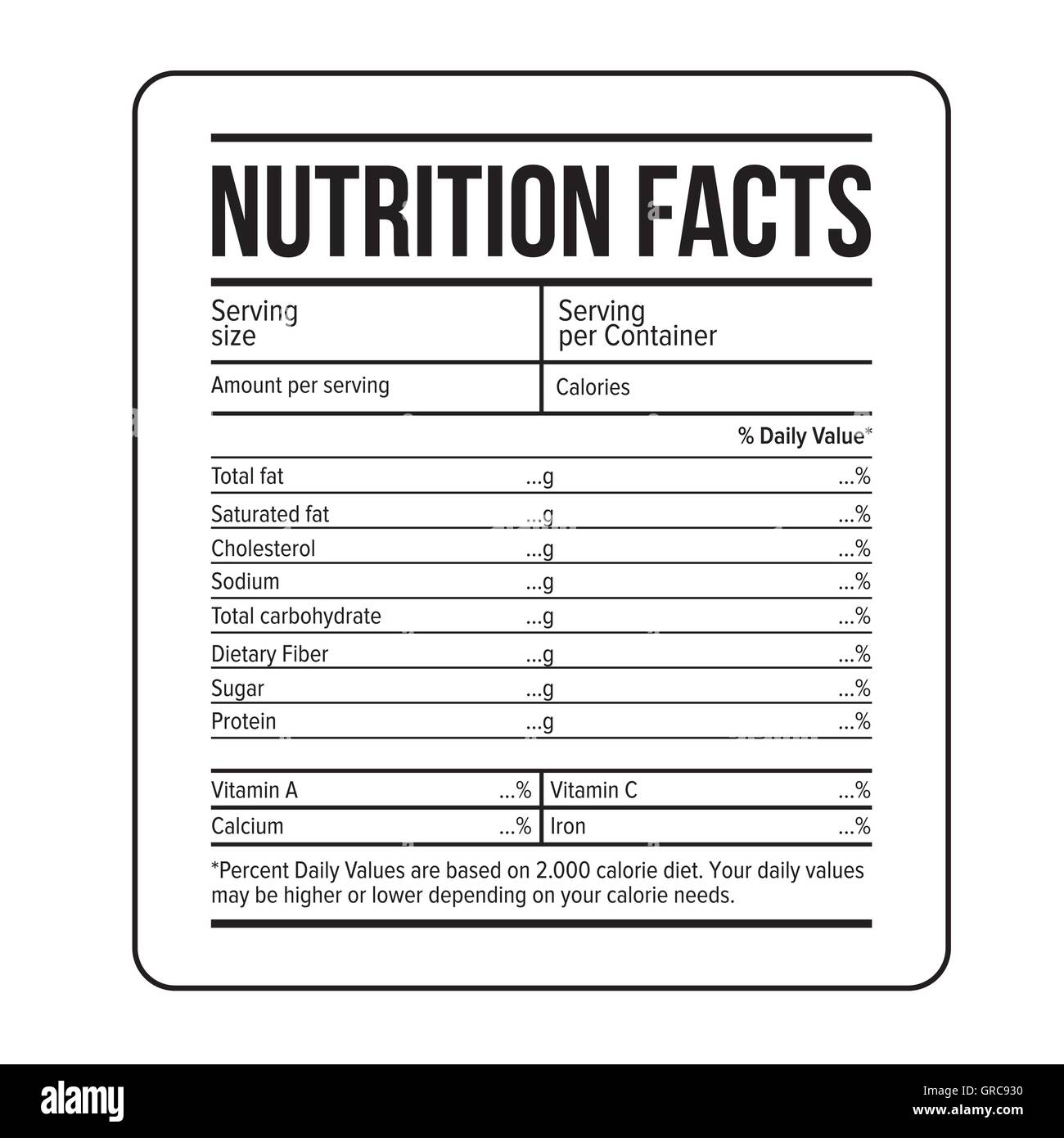 Nutrition Facts Label Template Vector Stock Vector Art