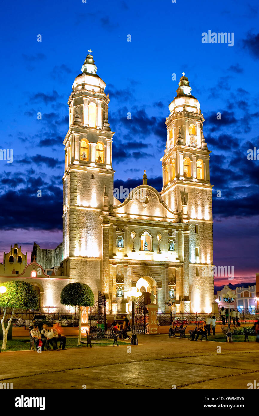 Zocalo And Cathedral In Campeche Mexico Stock Photo