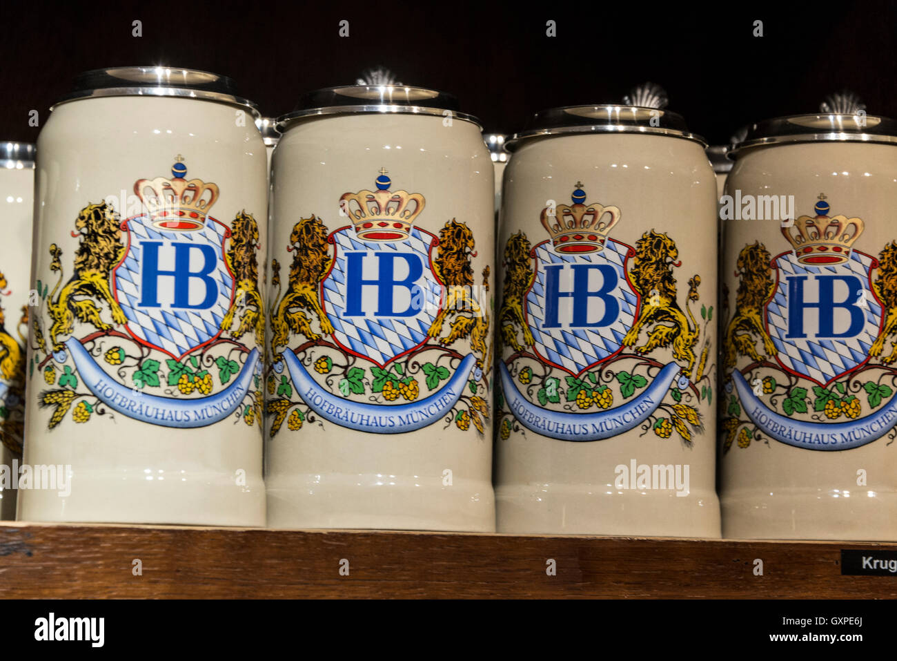 A row of 1 Liter Mass jugs on sale at the Hofbräuhaus beer hall gift
