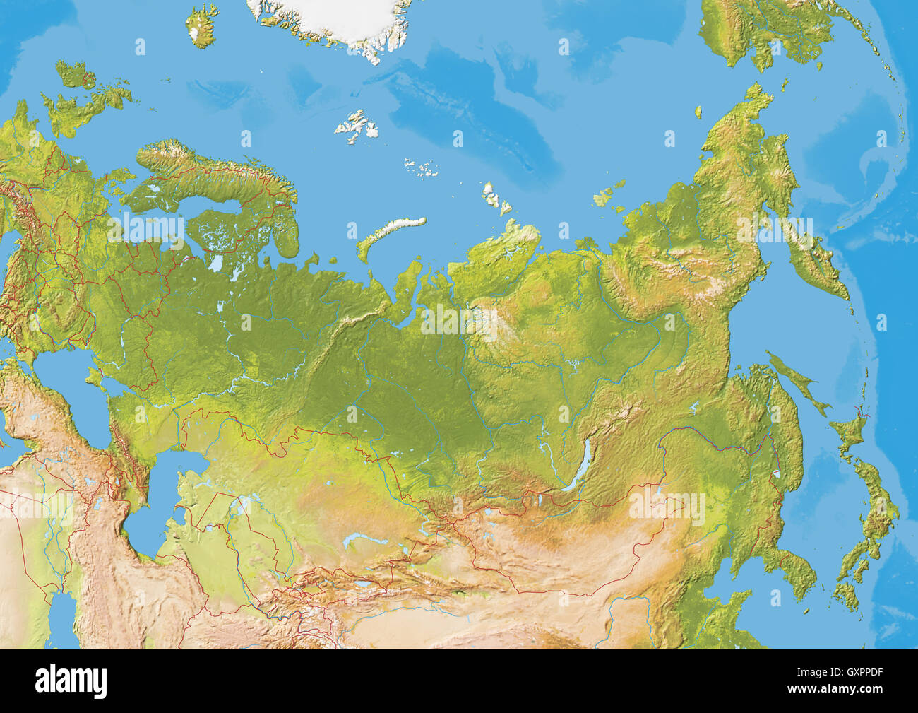 Map Of Russia Natural Colors With Hillshading Showing