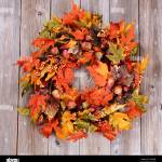 Overhead View Of Autumn Wreath Made With Artificial Leaves And Acorns Stock Photo Alamy