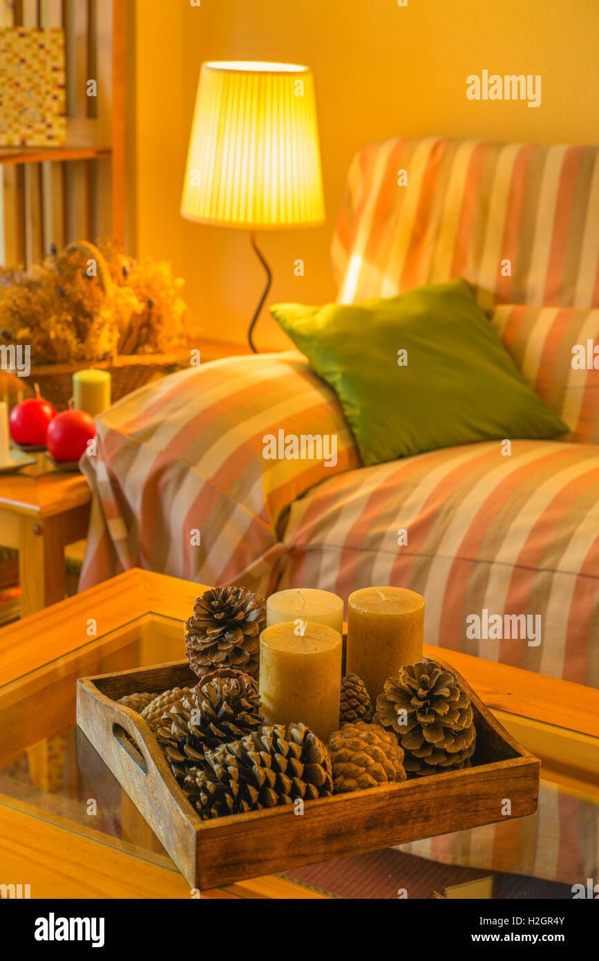 https www alamy com stock photo wooden coffee table with candles and cozy sofa with pillows living 122071291 html
