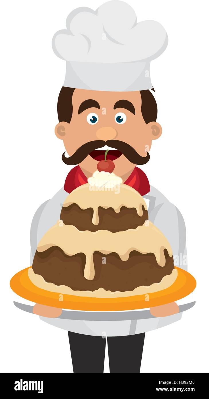 Cartoon Pastry Chef Decorating Cake