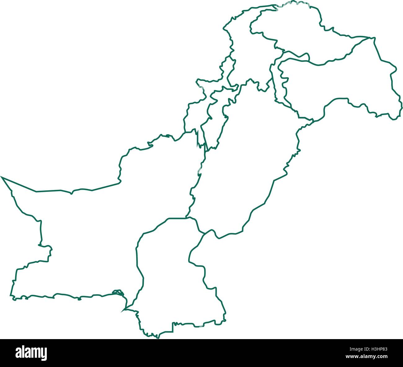 Pakistan Map With All States And Provinces Stock Vector