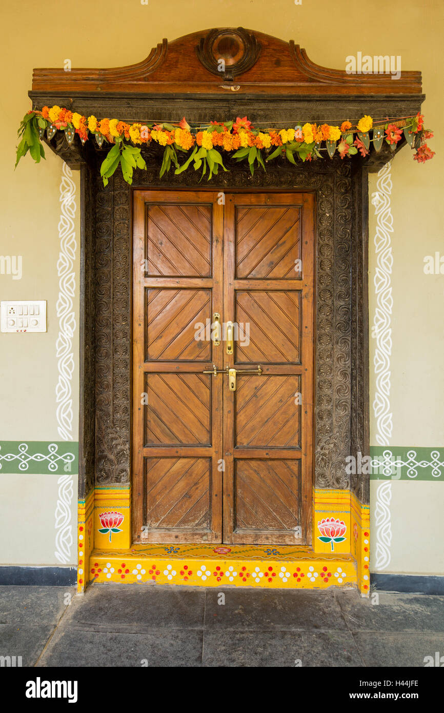 Painted Entrance Door Of Traditional Indian Home With