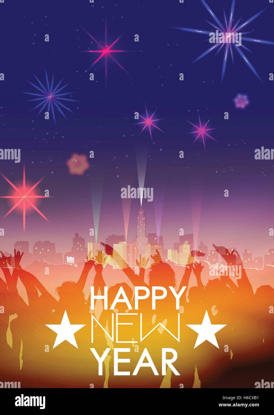 New Year Party Poster Template with City Skyline and Fireworks Stock     New Year Party Poster Template with City Skyline and Fireworks   Vector  Illustration