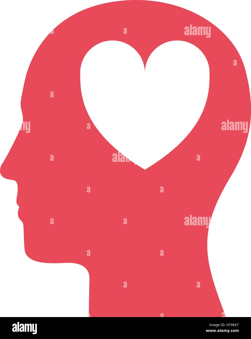 Silhouette Of Human Head Profile With Heart Shape Icon