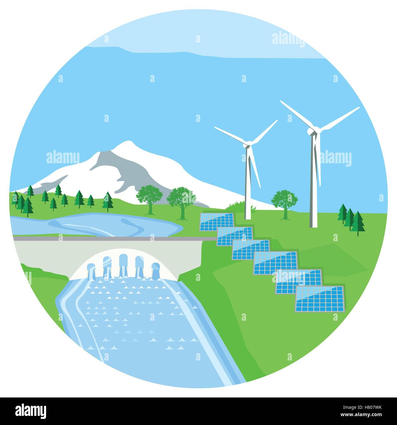 Solar Plant Hydropower Plant Wind Energy Stock Photo