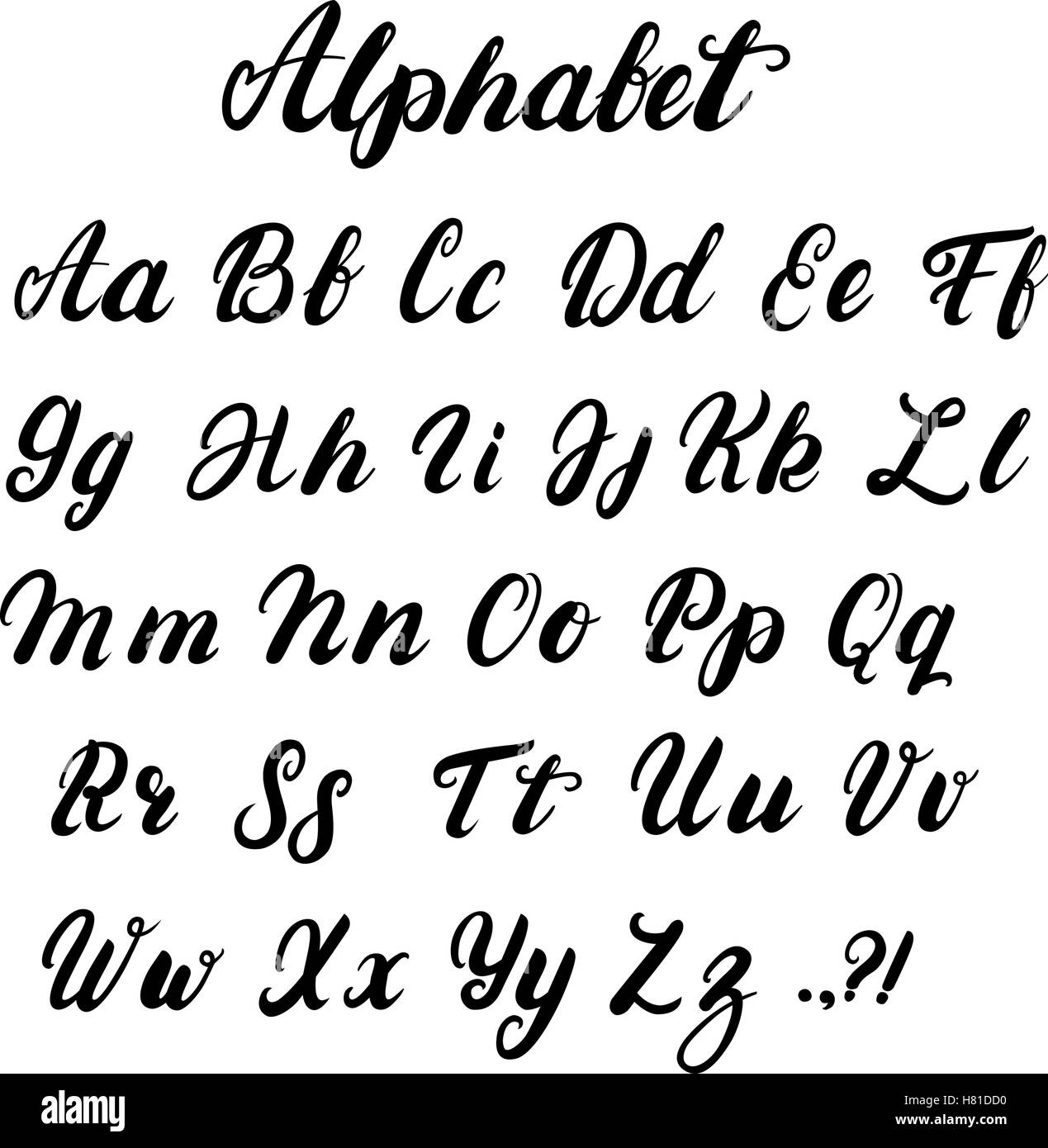 Hand Written Lowercase And Uppercase Calligraphy Alphabet Modern Stock Vector Art
