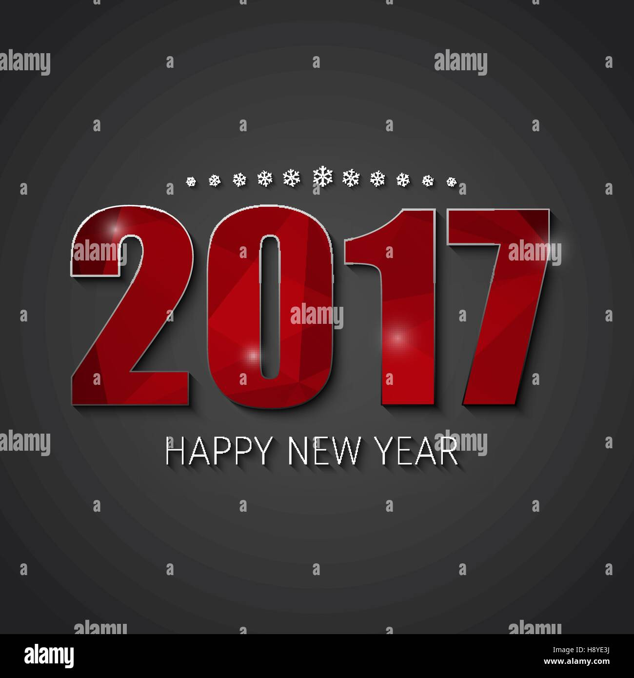 The design of the square black banner for a Happy New Year  Template     The design of the square black banner for a Happy New Year  Template  background with red abstract polygonal numbers 2017  Vector illustration