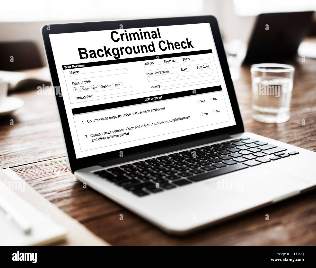 Criminal Background Check Insurance Form Concept Stock Photo     Criminal Background Check Insurance Form Concept