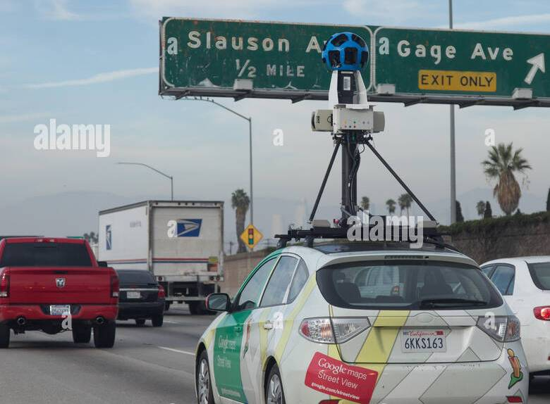 HD Decor Images » Los Angeles  Us  16th Nov  2016  A car from Google street view with     Los Angeles  Us  16th Nov  2016  A car from Google street view with a  360 degree camera on the roof drives on a freeway in Los Angeles  USA  on  15th