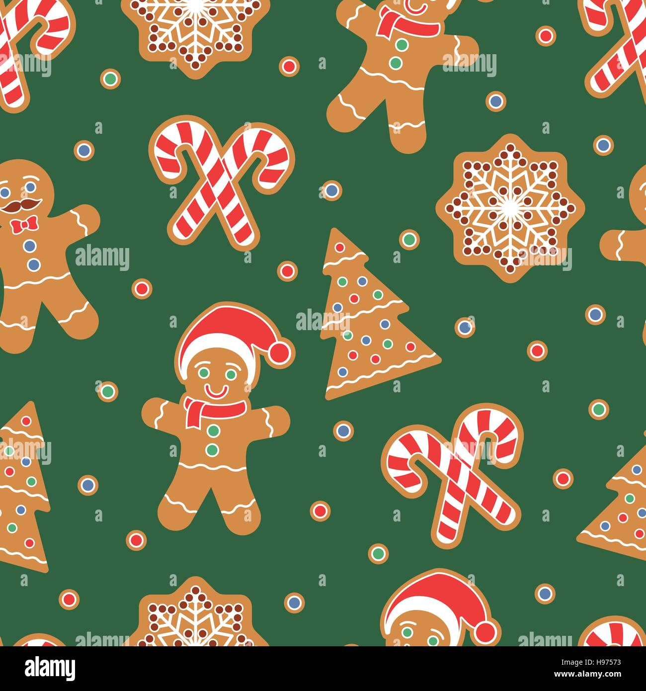 Christmas Themed Seamless Pattern Gingerbread Man Cookies