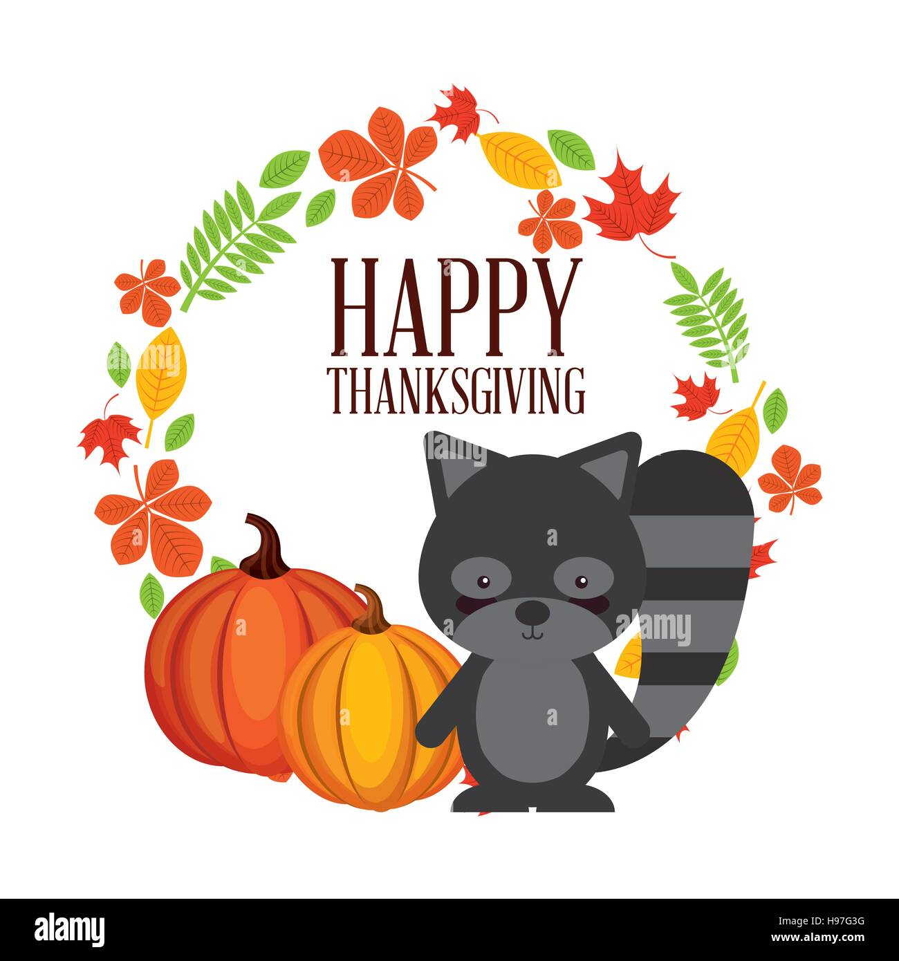 Happy Thanksgiving Card With Wreath Of Autumn Leaves And Cute Raccoon Stock Vector Image Art Alamy