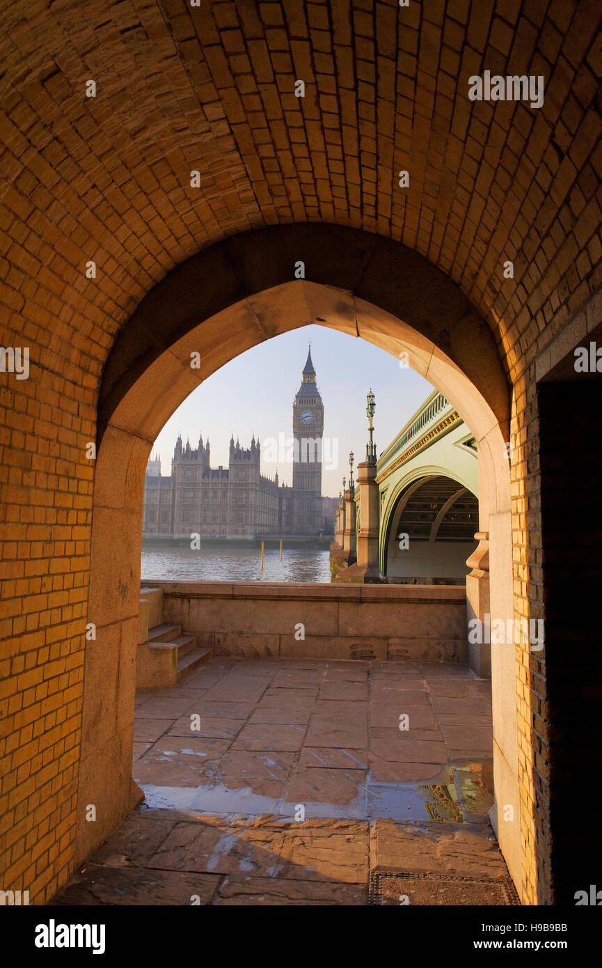Looking Through An Archway Under Westminster Bridge Towards