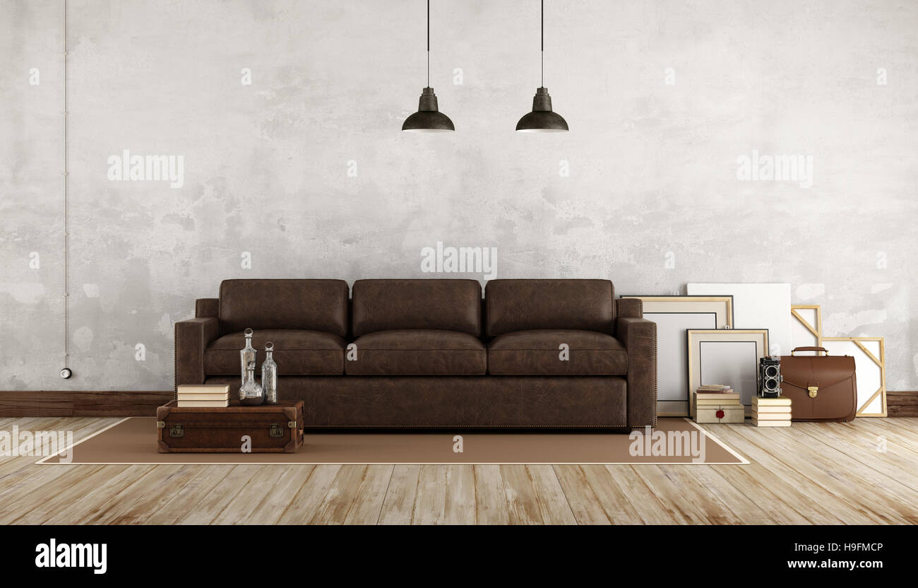 Retro Living Room With Leather Sofa 3d Rendering Stock