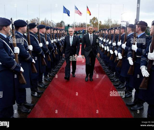 German Chief Of Protocol Jurgen Mertens Escorts U S President Barack Obama Past The German Wachbataillon Honor Guard To Air Force One As He Departs The