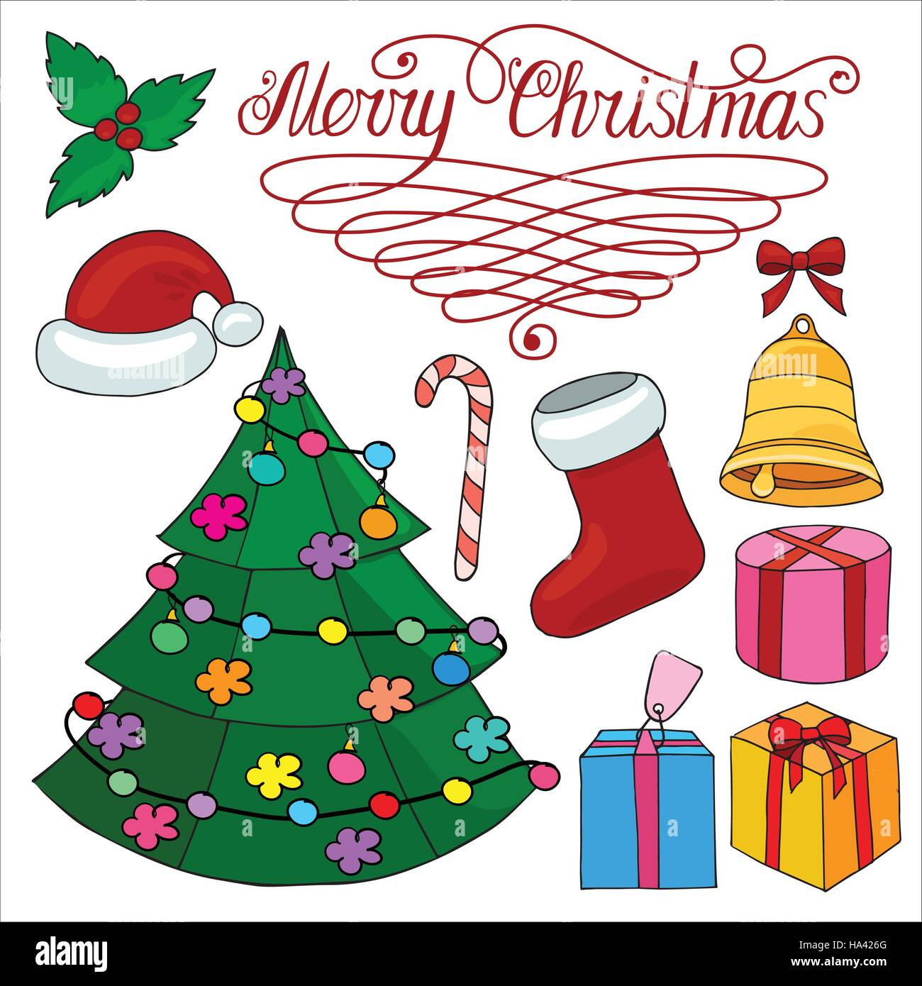Christmas Set Of Design Elements With Christmas Tree Bell