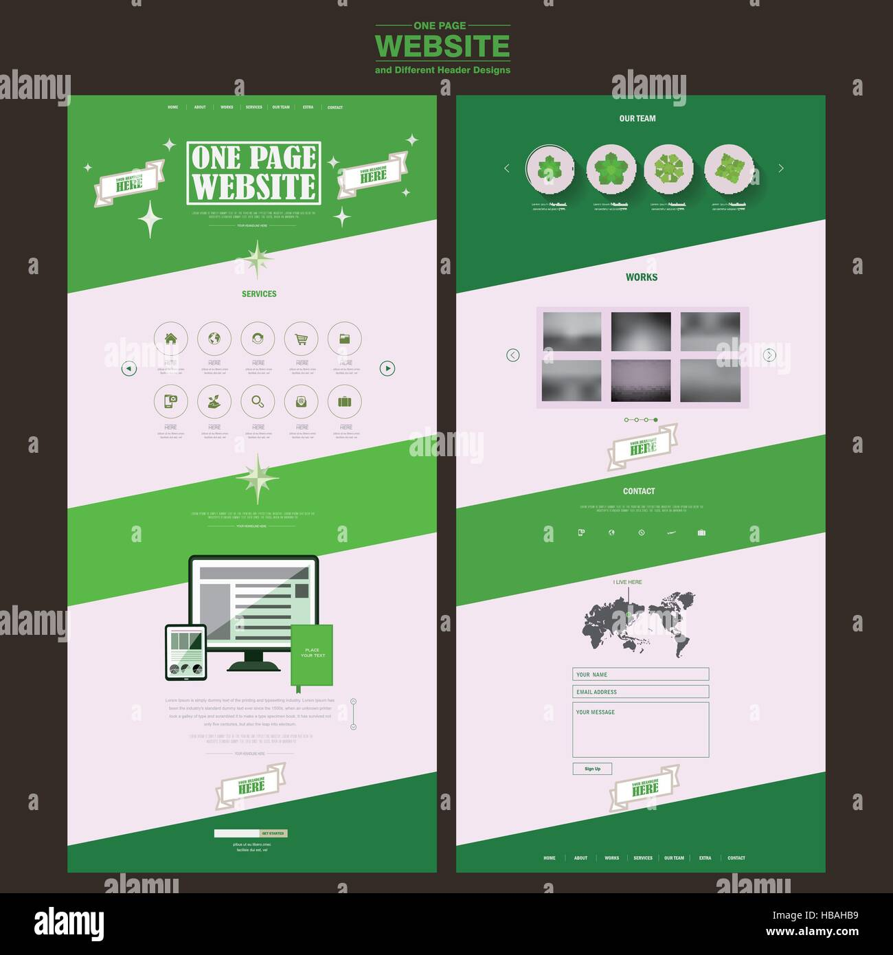 Free for commercial use high quality images Simplicity One Page Website Template Design In Green And White Stock Vector Image Art Alamy