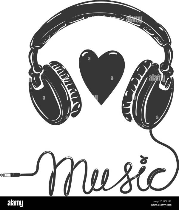 I love music. Headphones with text isolated on white ...