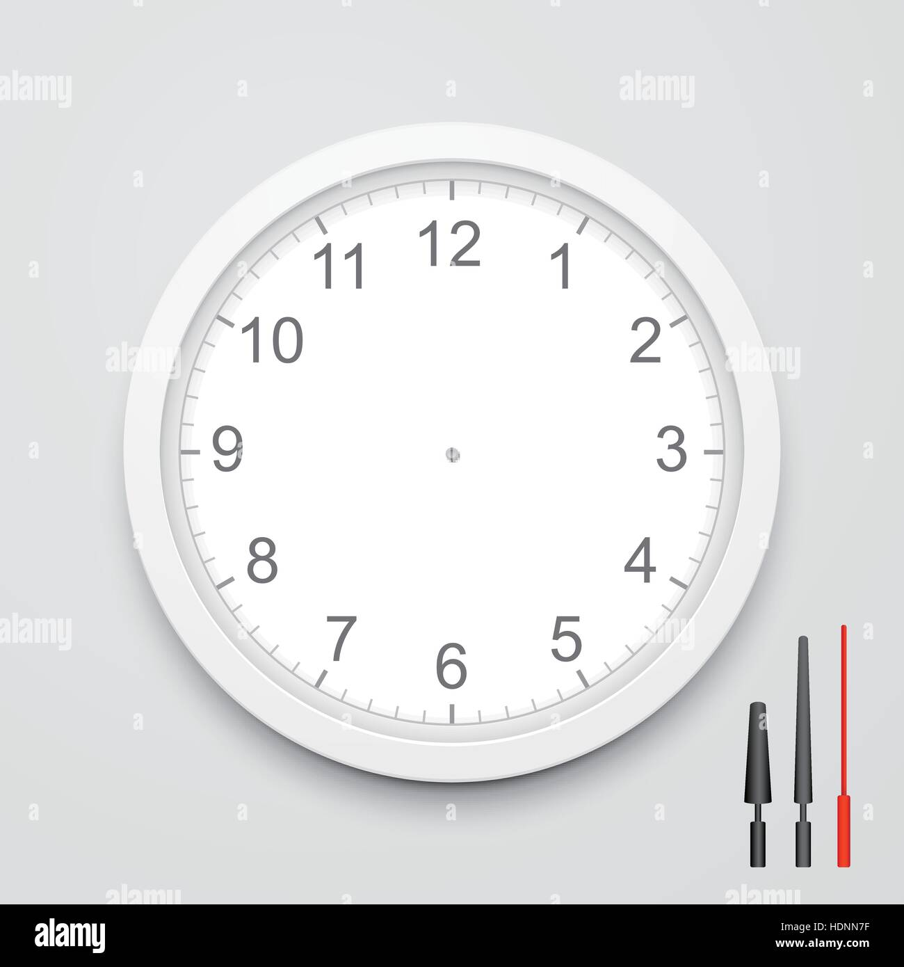 3d Vector Blank Clock Face With Hour Minute And Second
