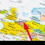 Red Arrow Pointing Netherlands On The Map Of Europe Continent Stock Photo Alamy