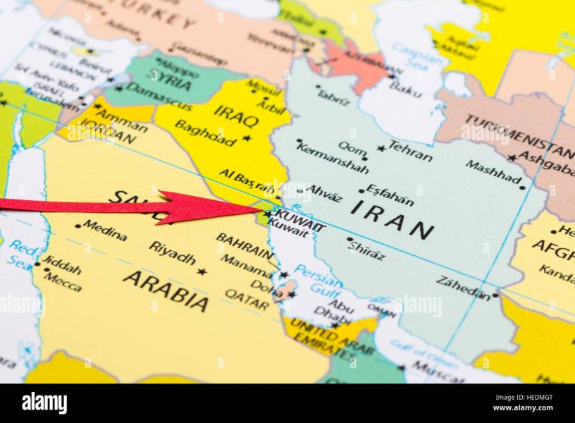 Red arrow pointing Kuwait on the map of Asia continent Stock Photo     Red arrow pointing Kuwait on the map of Asia continent