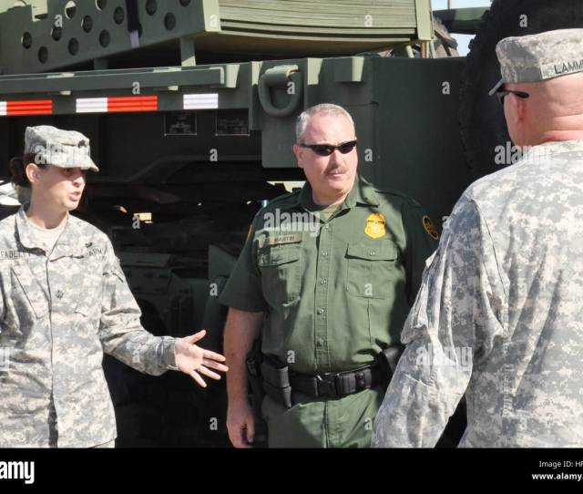 Jennifer Fadeley Escorts Members Of The U S Customs And Border Protection Tucson Sector Through The Motor Pool Of The 2220th Transportation Company