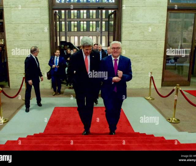 German Foreign Minister Frank Walter Steinmeier Escorts U S Secretary Of State John Kerry As He Arrives At The German Foreign Ministry In Berlin Germany