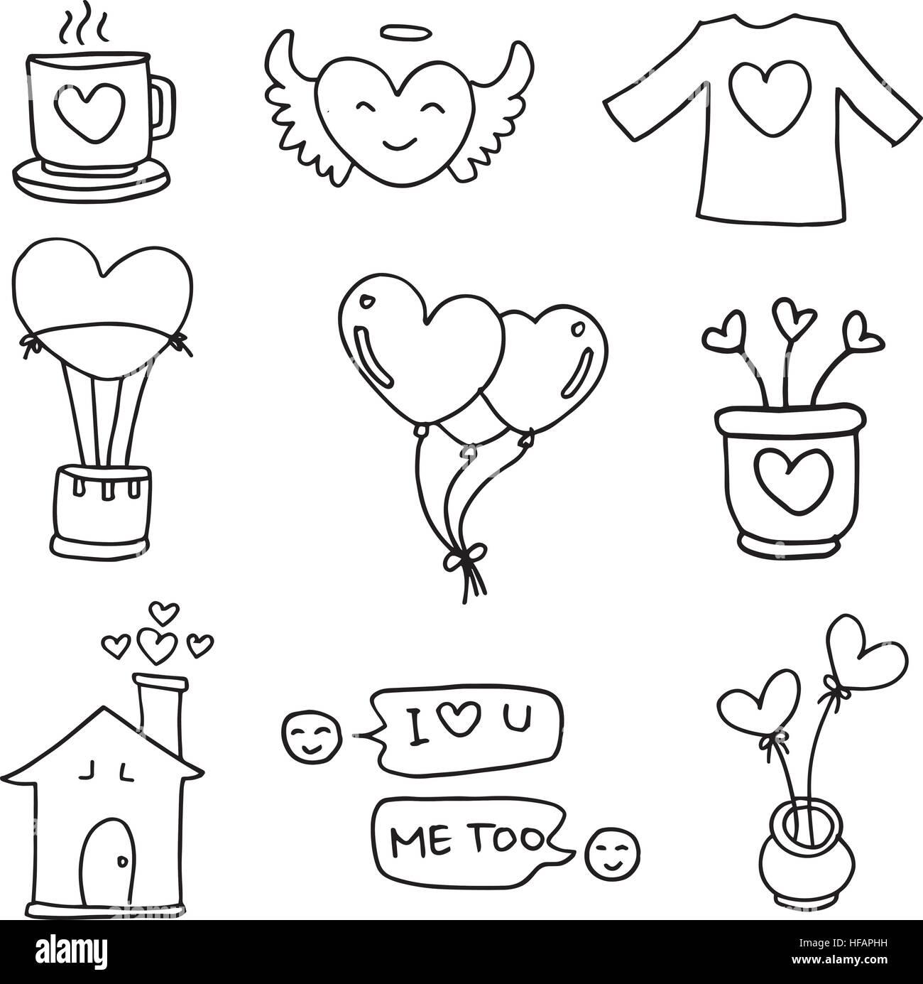 Illustration Of Hand Draw Love Doodles Stock Vector Art