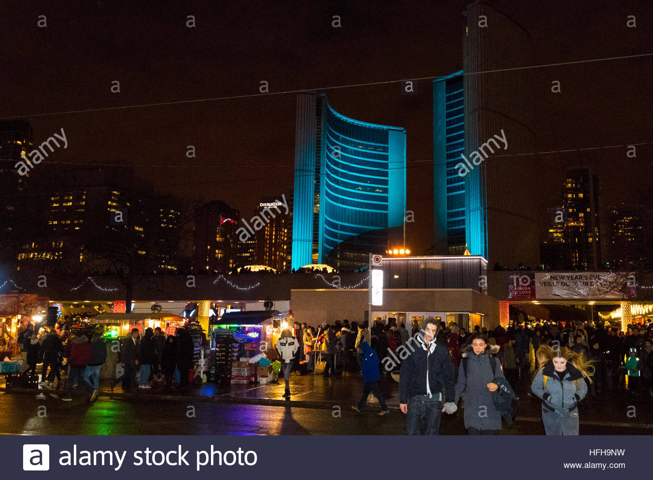 Toronto  Canada  1st January  2017  New Year s Eve celebrations in     Toronto  Canada  1st January  2017  New Year s Eve celebrations in Nathan  Phillips Square  Ice Skating party full of Christmas lights and decorations