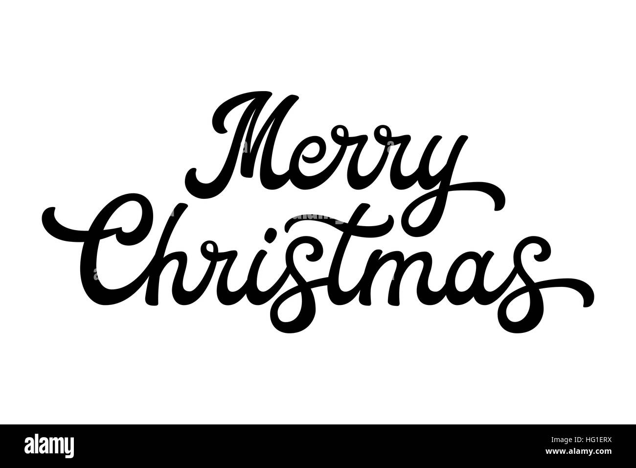 Merry Christmas Brush Lettering Black Letters Isolated On