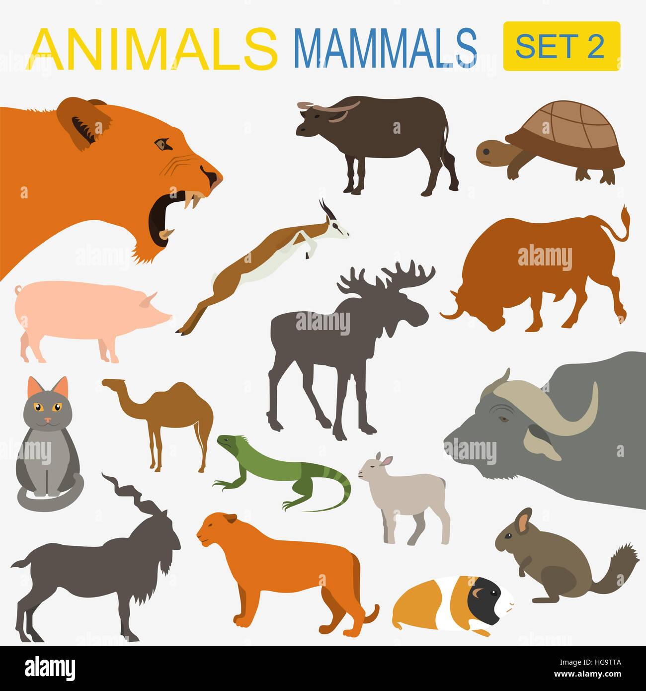 Animals Mammals Icon Set Vector Flat Style Vector