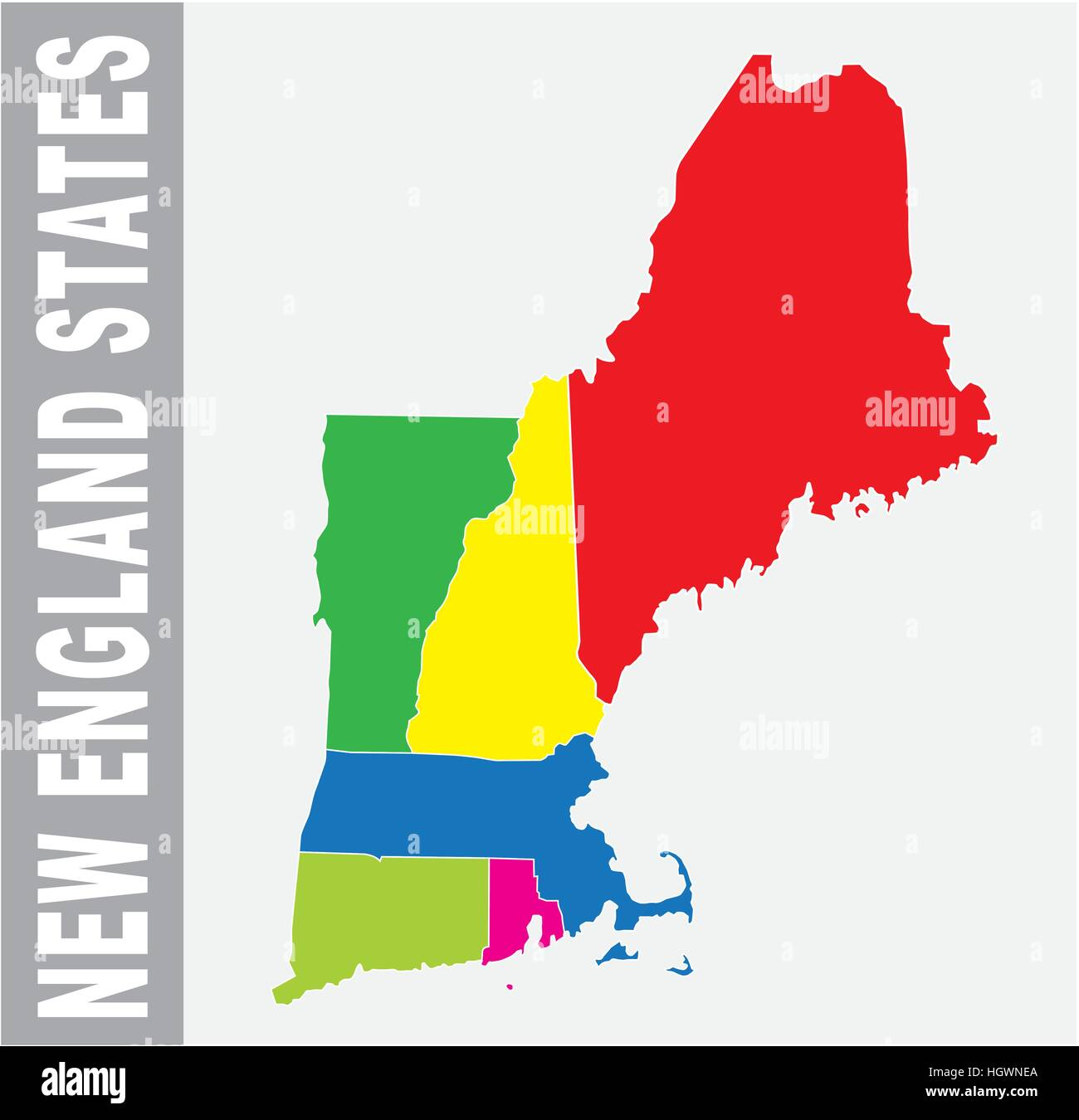Colorful New England States Administrative And Political