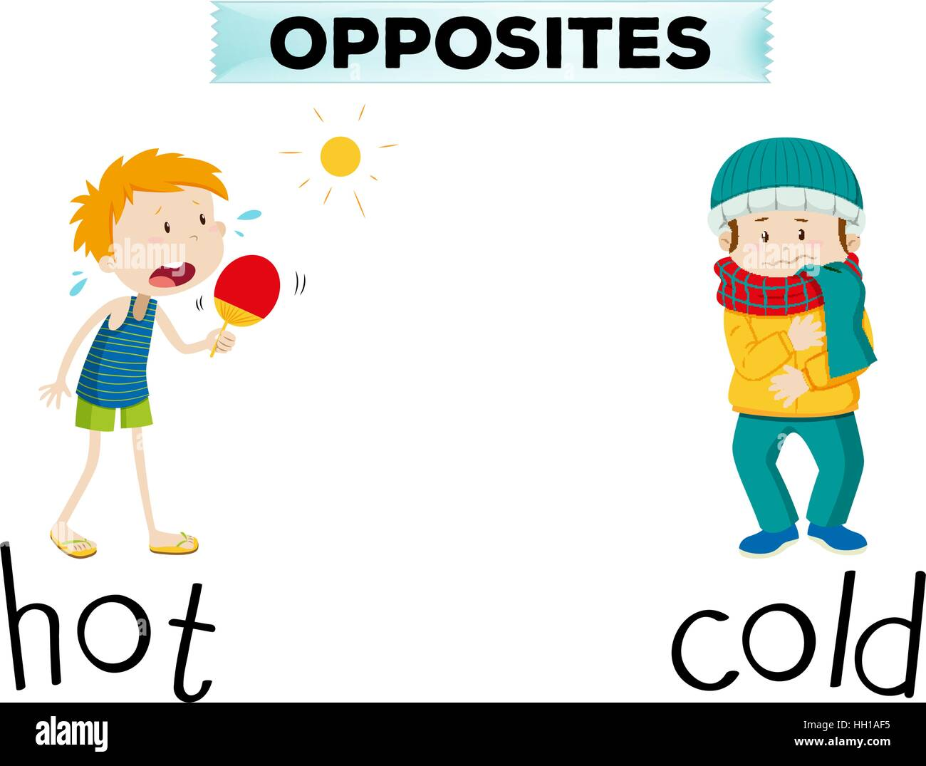 Opposite Words For Hot And Cold Illustration Stock Vector