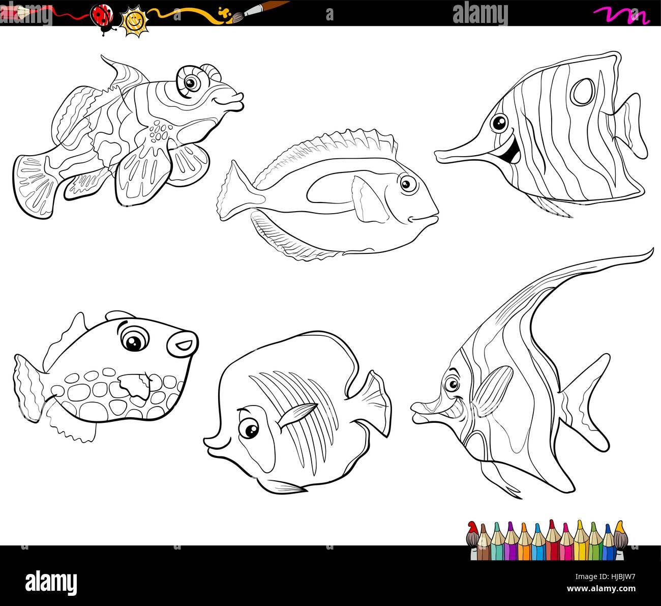 Black And White Cartoon Illustration Of Tropical Fish Sea Life Animal Stock Vector Art