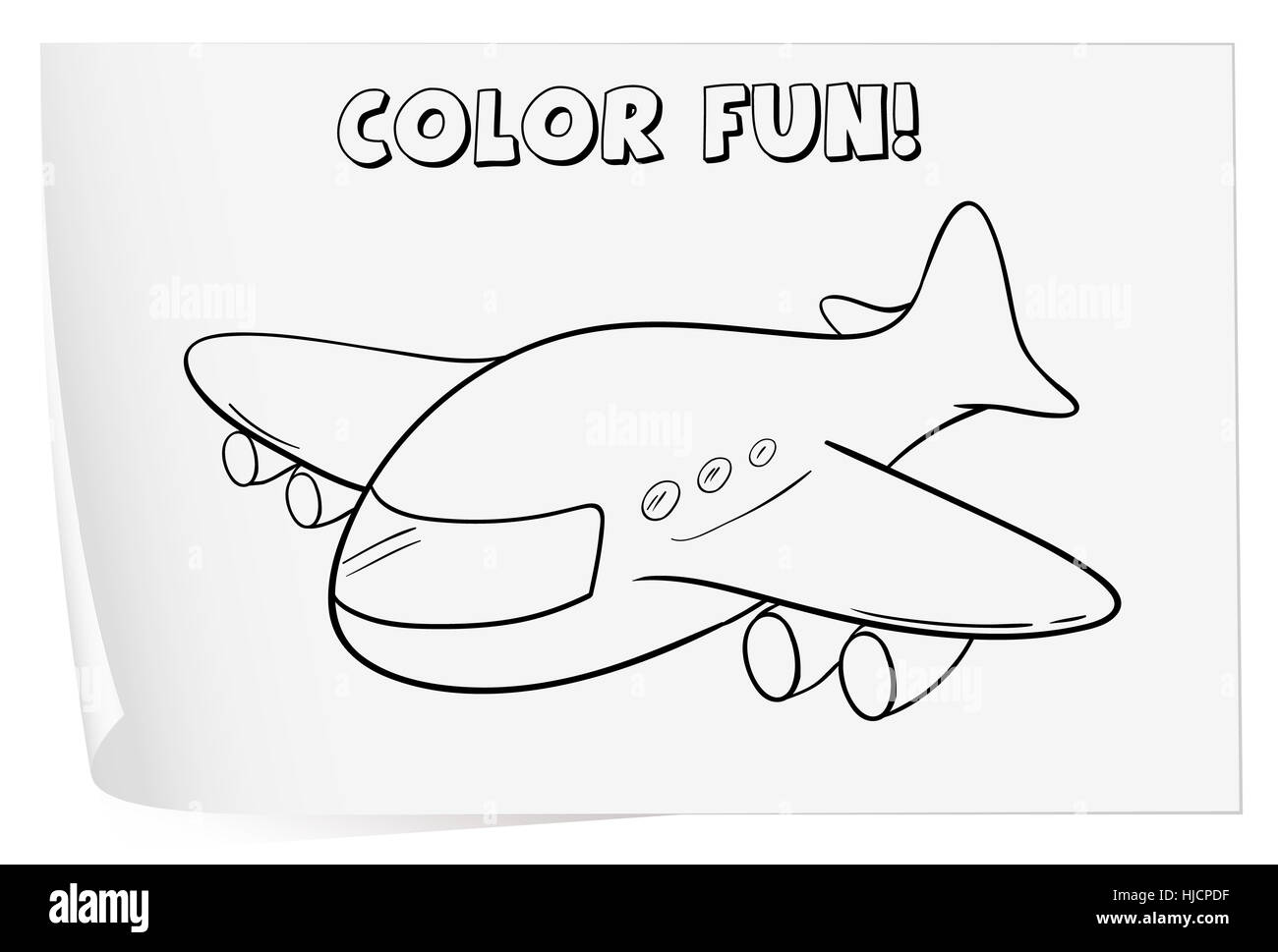 Illustration Of A Colouring Worksheet Plane Stock Photo