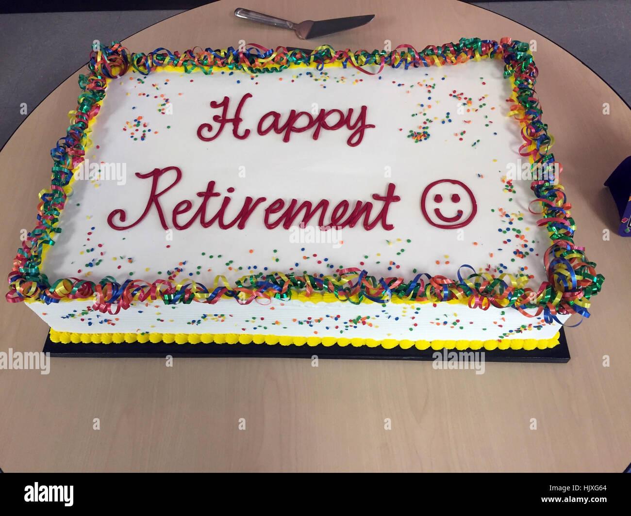 Happy Retirement Cake Stock Photo