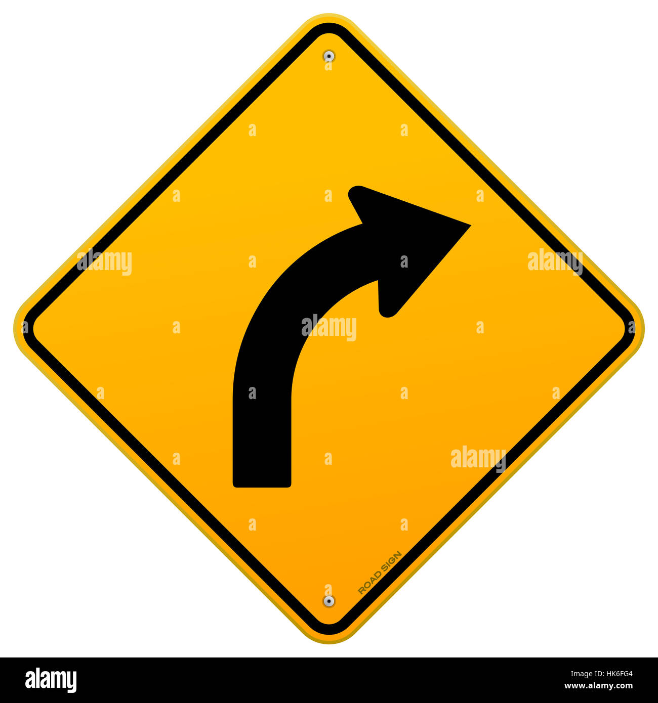 Sign Signal Caution Bend Motorway Highway Curve