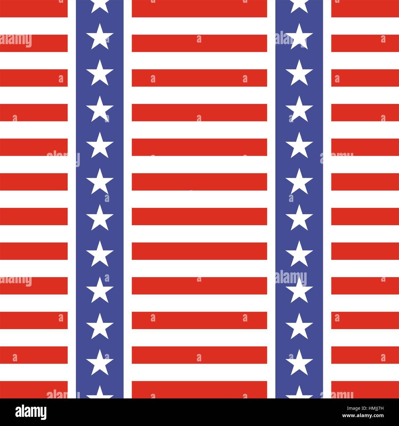 Patriotic Usa Seamless Pattern American Flag Symbols And