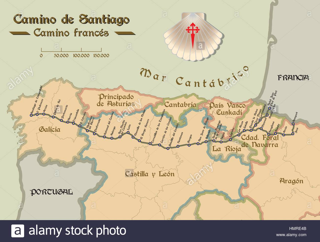 Map of Saint James way with all the stages of french way  Mapa del     Map of Saint James way with all the stages of french way  Mapa del Camino  de Santiago