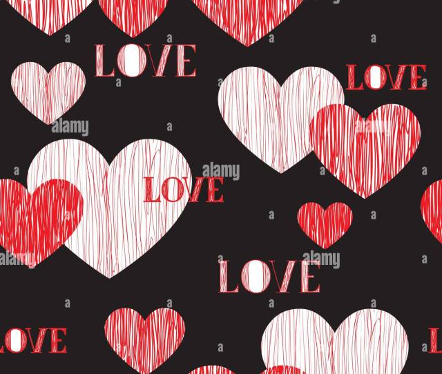 Love Heart Seamless Pattern Happy Valentines Day Wallpaper Love Heart Pencil Sketch Tiled Background