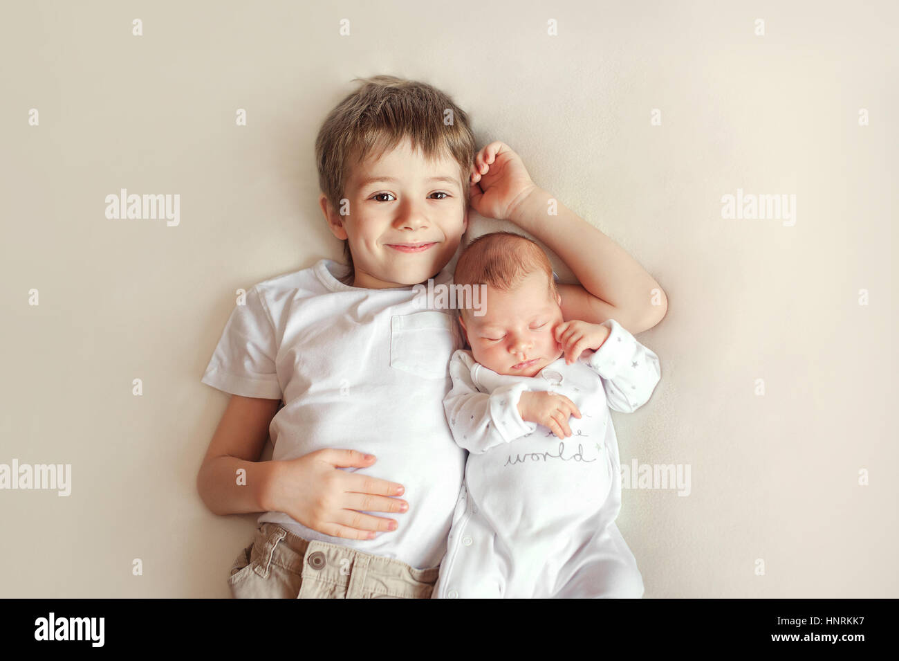 Little Brother Hugging Her Newborn Baby Toddler Kid